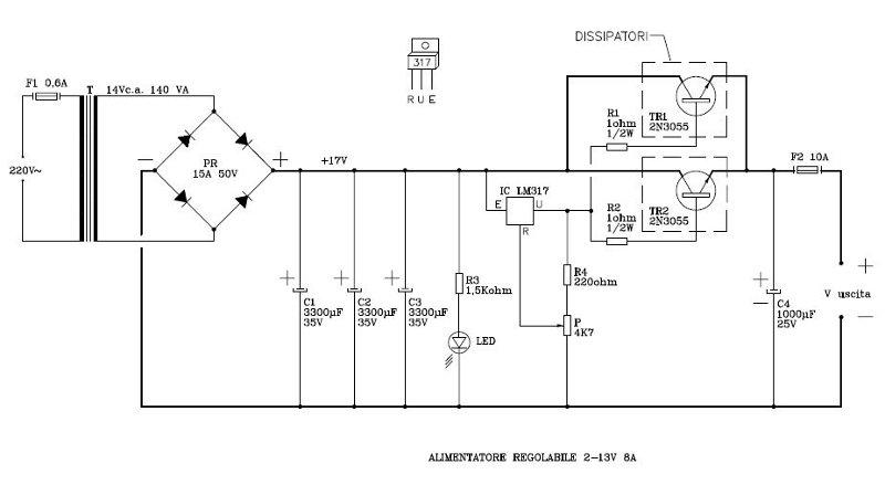 Schema Elettrico Riduttore Di Tensione Da 24v A 12v : Alimentatore stabilizz regolabile v a arivigevano